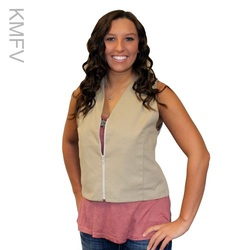 Woman wearing a khaki women's fashion cooling vest